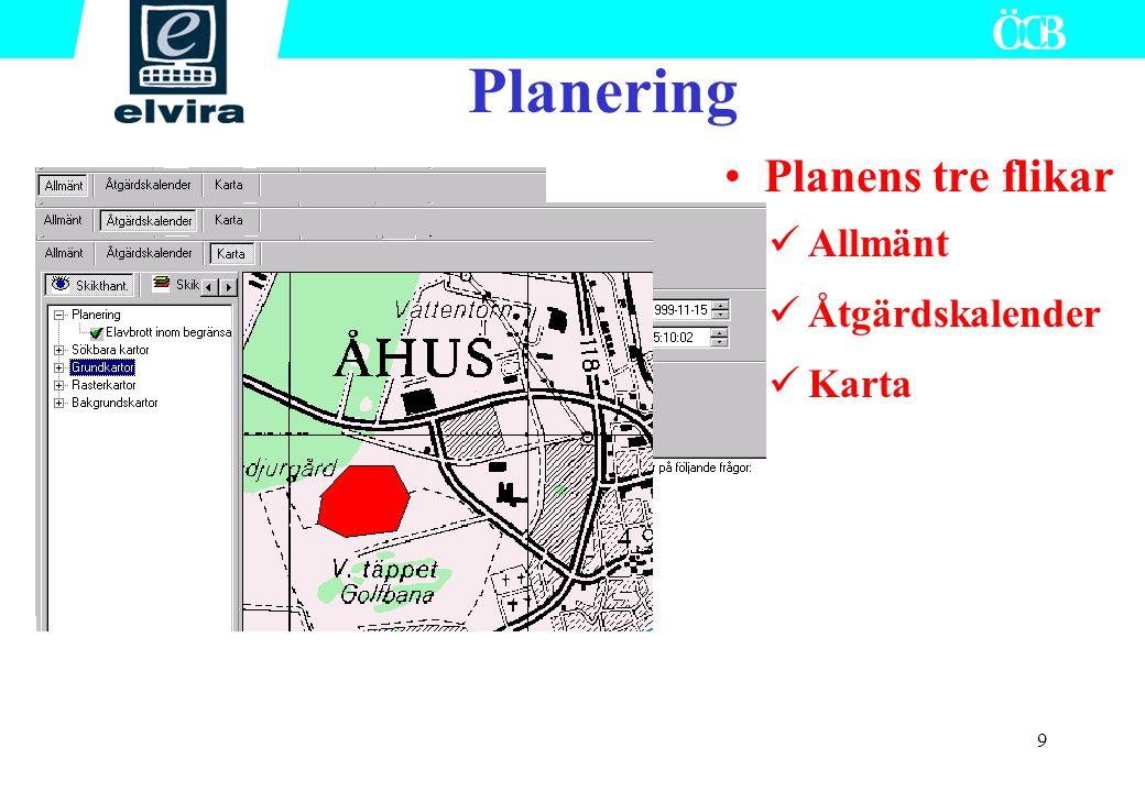 Planering Planens tre flikar Allmänt Åtgärdskalender Karta