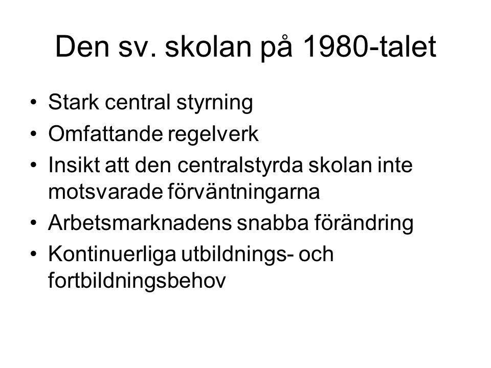 Den sv. skolan på 1980-talet Stark central styrning