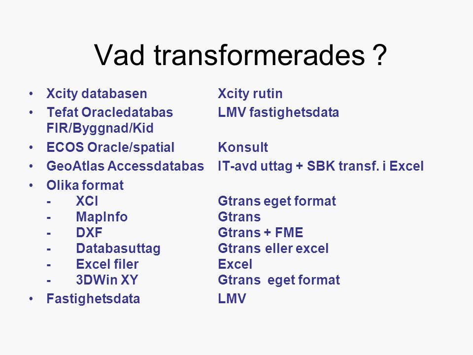 Vad transformerades Xcity databasen Xcity rutin
