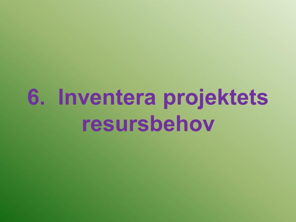 6. Inventera projektets resursbehov