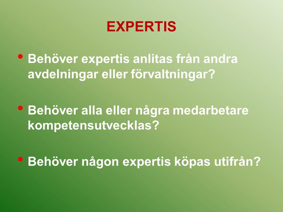 EXPERTIS Behöver expertis anlitas från andra avdelningar eller förvaltningar Behöver alla eller några medarbetare kompetensutvecklas