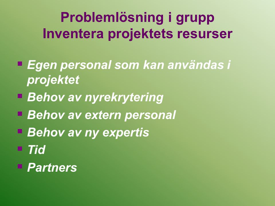 Problemlösning i grupp Inventera projektets resurser