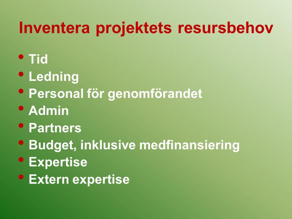 Inventera projektets resursbehov
