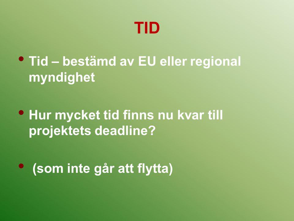 TID Tid – bestämd av EU eller regional myndighet