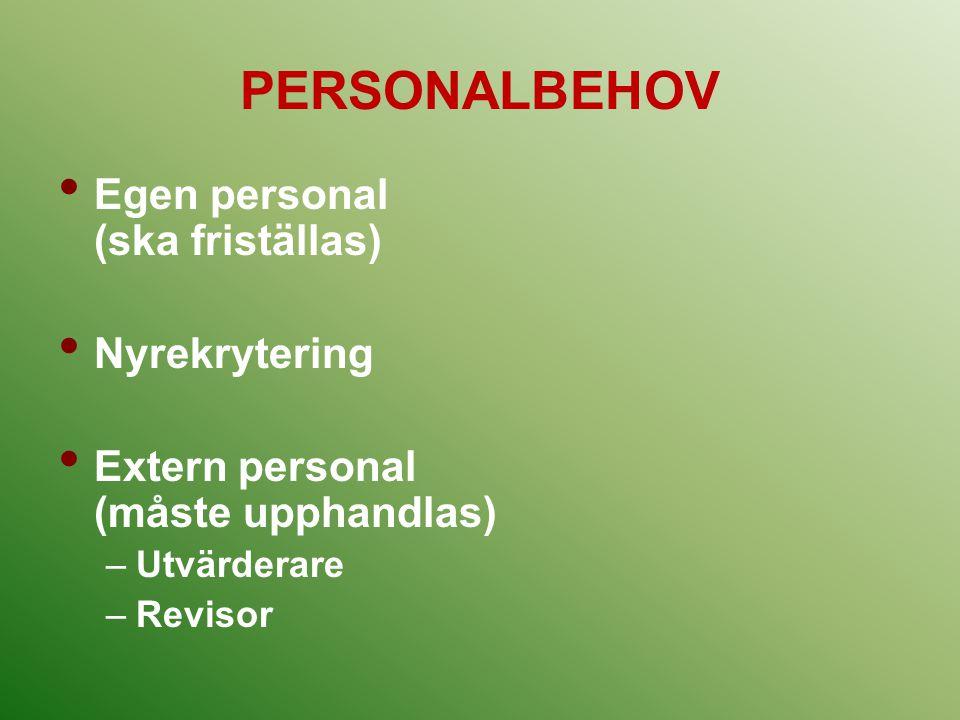 PERSONALBEHOV Egen personal (ska friställas) Nyrekrytering