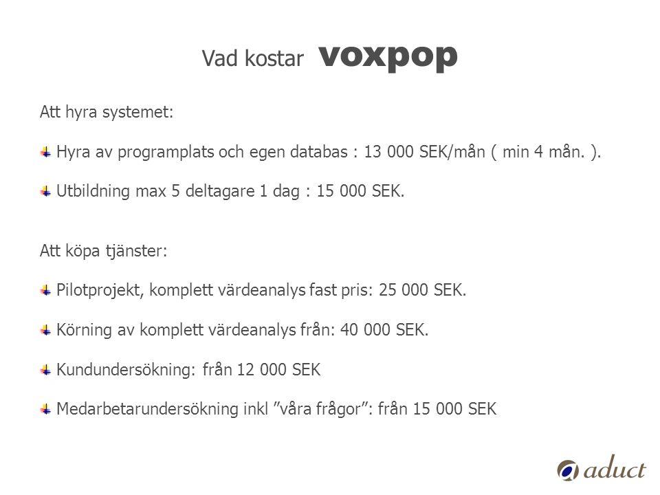 Vad kostar voxpop Att hyra systemet: