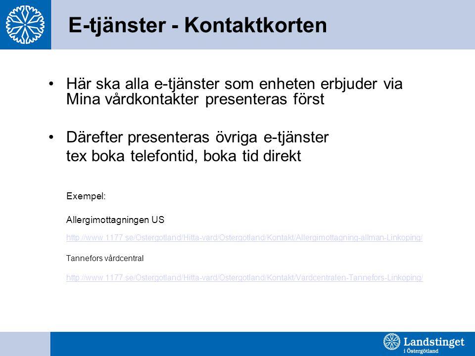 E-tjänster - Kontaktkorten