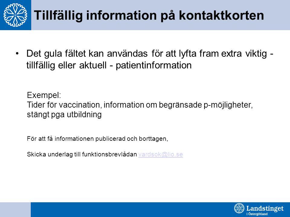Tillfällig information på kontaktkorten