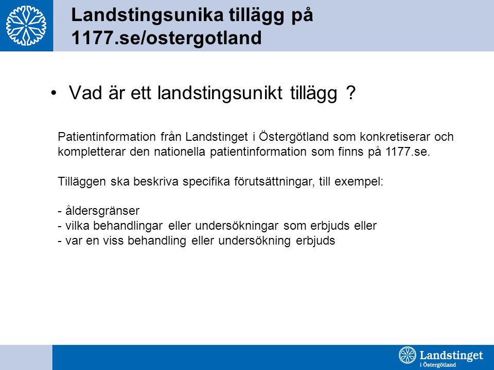 Landstingsunika tillägg på 1177.se/ostergotland