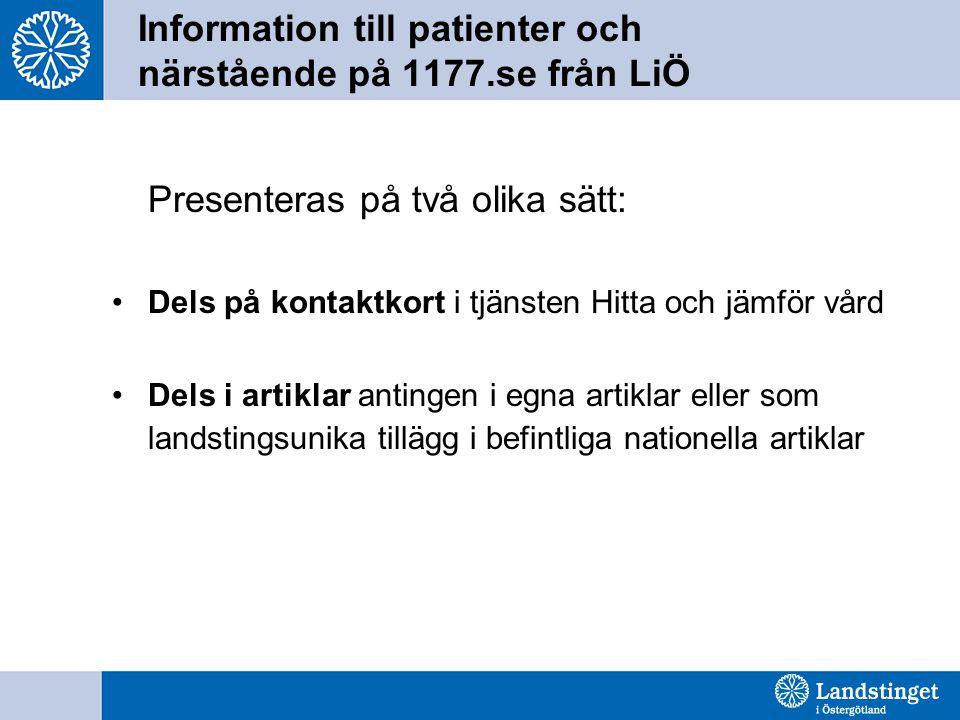 Information till patienter och närstående på 1177.se från LiÖ