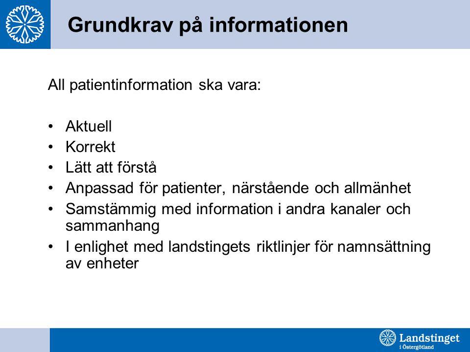 Grundkrav på informationen