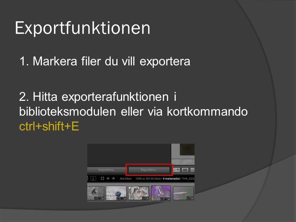 Exportfunktionen 1. Markera filer du vill exportera