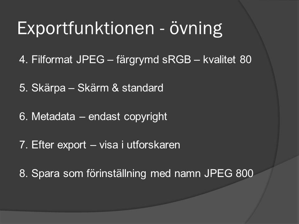 Exportfunktionen - övning