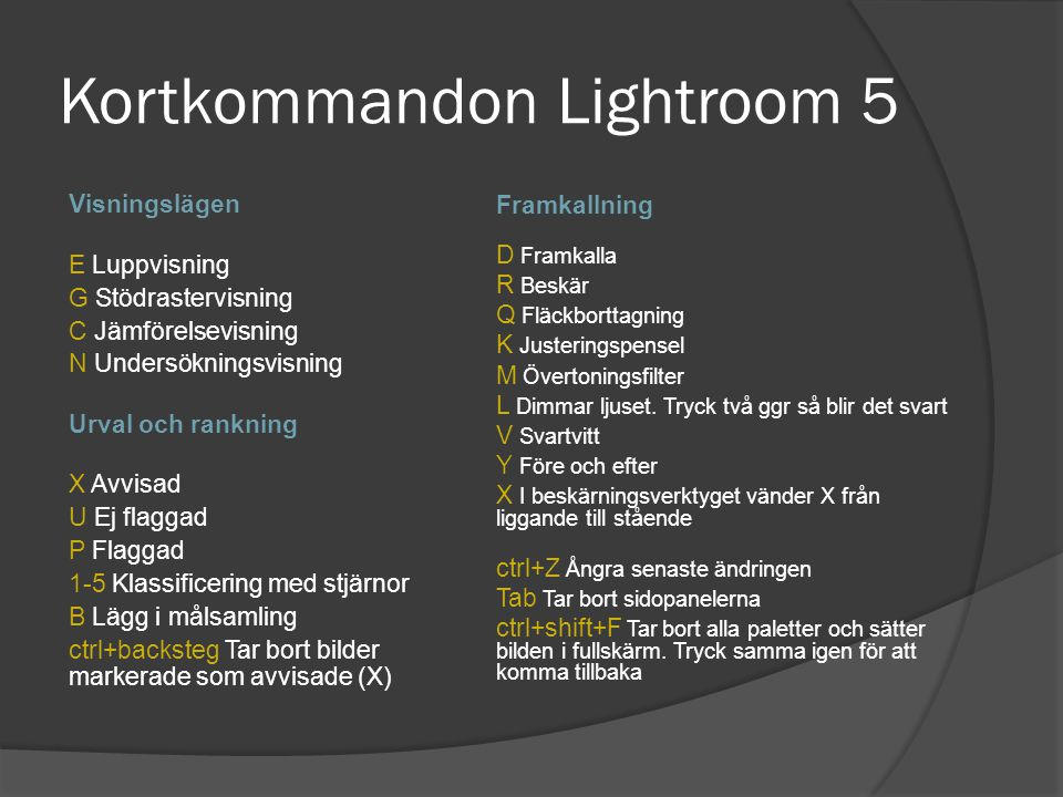 Kortkommandon Lightroom 5