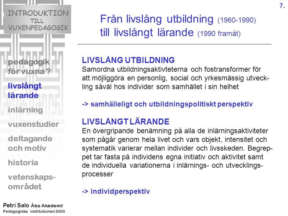 Från livslång utbildning (1960-1990)