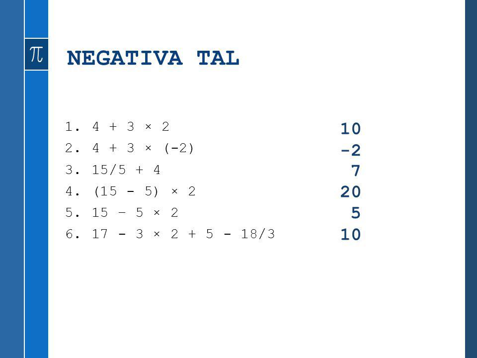 NEGATIVA TAL 10 -2 7 20 5 10 4 + 3 × 2 4 + 3 × (-2) 15/5 + 4