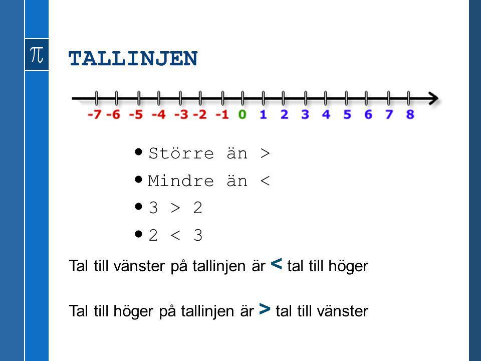 TALLINJEN Större än > Mindre än < 3 > 2 2 < 3