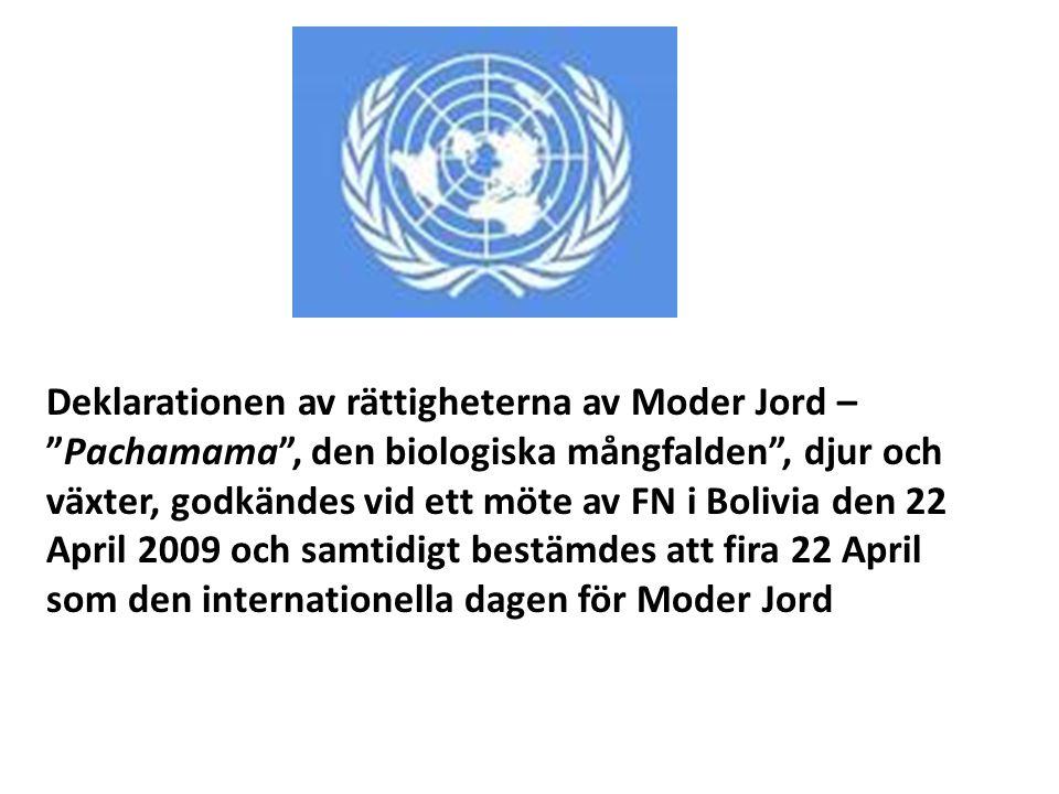 Deklarationen av rättigheterna av Moder Jord – Pachamama , den biologiska mångfalden , djur och växter, godkändes vid ett möte av FN i Bolivia den 22 April 2009 och samtidigt bestämdes att fira 22 April som den internationella dagen för Moder Jord