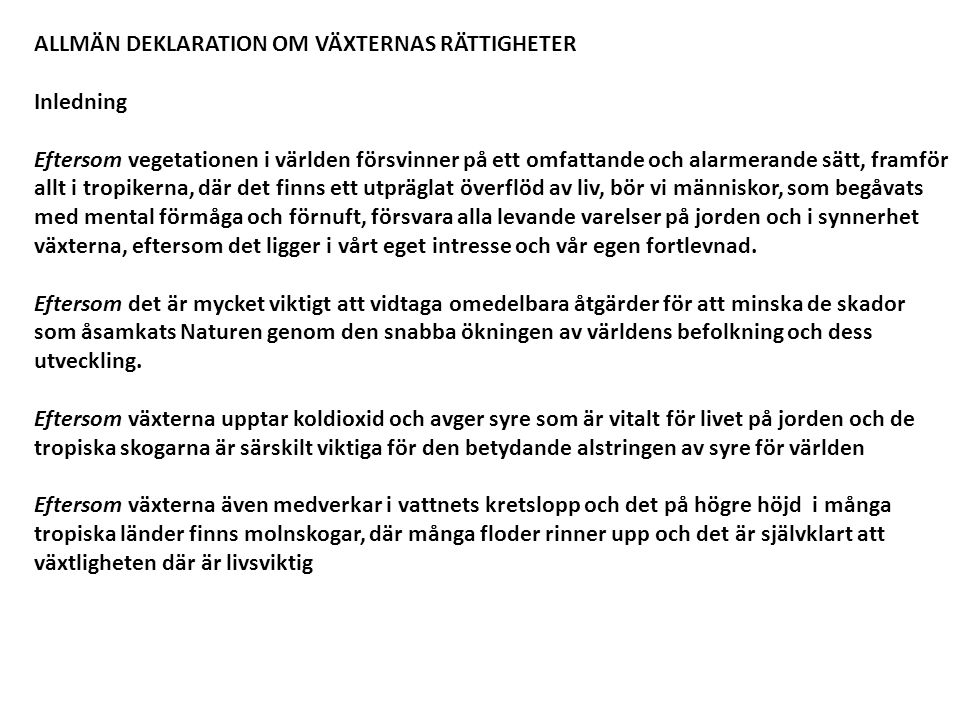 ALLMÄN DEKLARATION OM VÄXTERNAS RÄTTIGHETER
