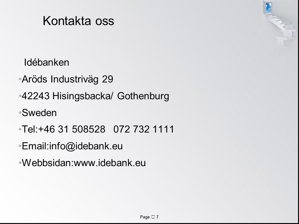 Kontakta oss Idébanken Aröds Industriväg 29
