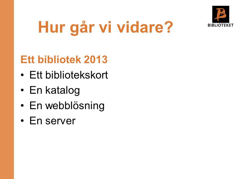 Hur går vi vidare Ett bibliotek 2013 Ett bibliotekskort En katalog