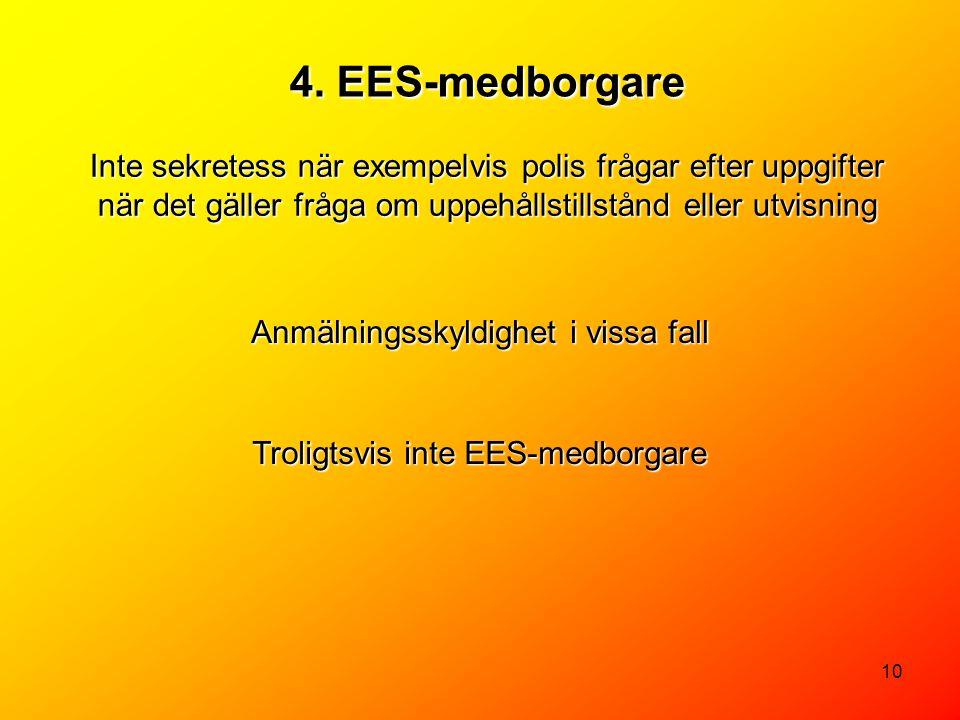 4. EES-medborgare Inte sekretess när exempelvis polis frågar efter uppgifter när det gäller fråga om uppehållstillstånd eller utvisning.