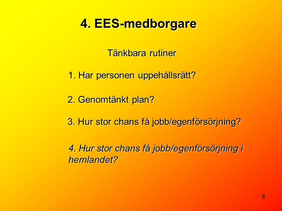 4. EES-medborgare Tänkbara rutiner 1. Har personen uppehållsrätt