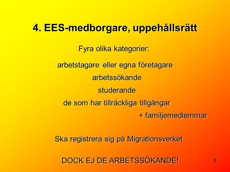 4. EES-medborgare, uppehållsrätt