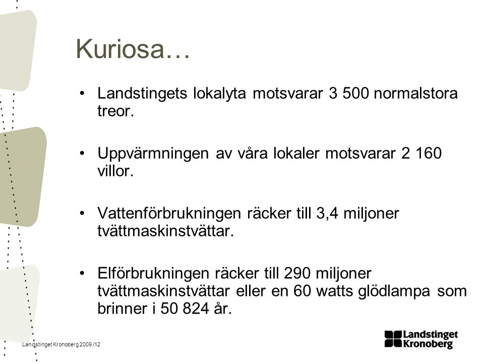 Kuriosa… Landstingets lokalyta motsvarar 3 500 normalstora treor.