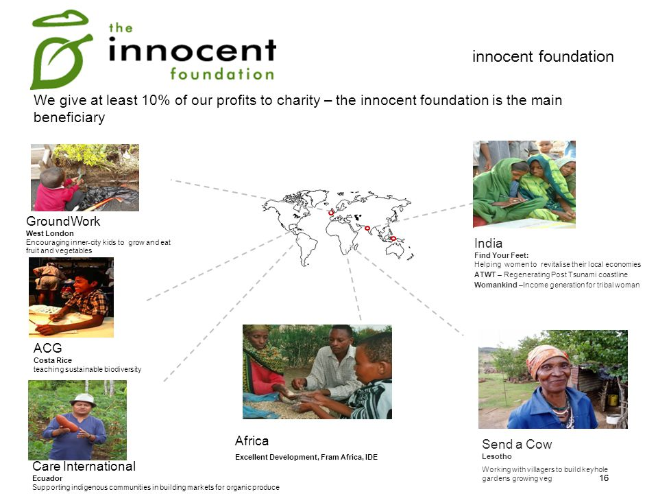 innocent foundation We give at least 10% of our profits to charity – the innocent foundation is the main beneficiary.
