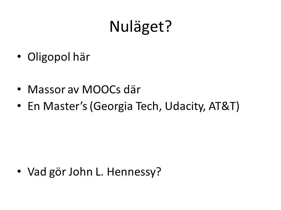 Nuläget Oligopol här Massor av MOOCs där