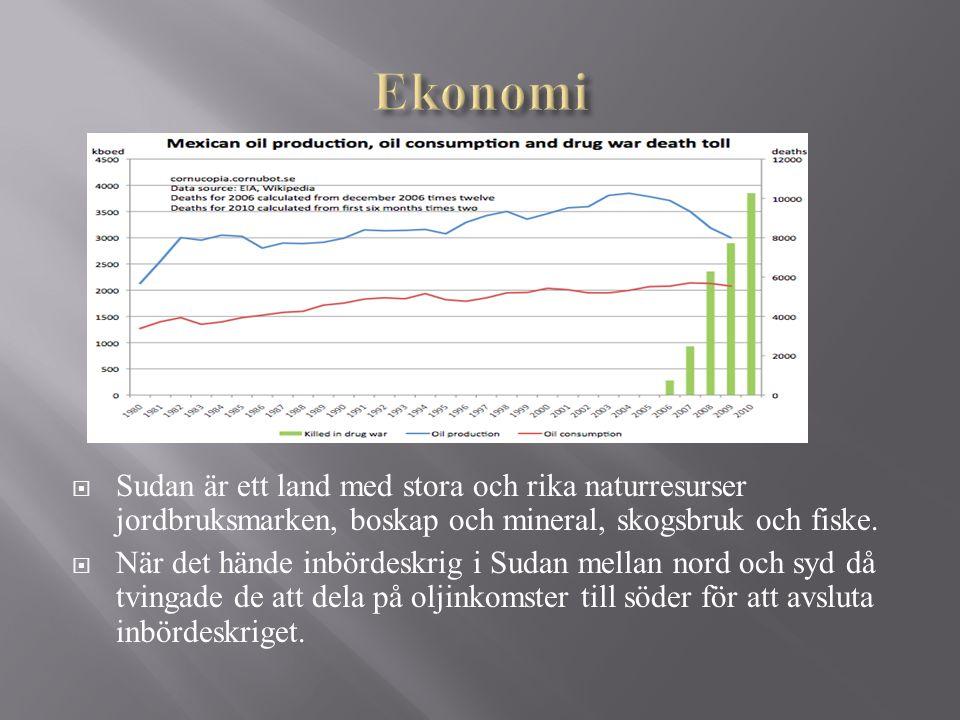 Ekonomi Sudan är ett land med stora och rika naturresurser jordbruksmarken, boskap och mineral, skogsbruk och fiske.