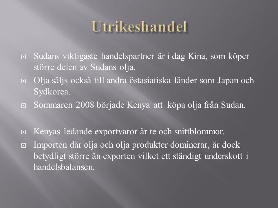 Utrikeshandel Sudans viktigaste handelspartner är i dag Kina, som köper större delen av Sudans olja.