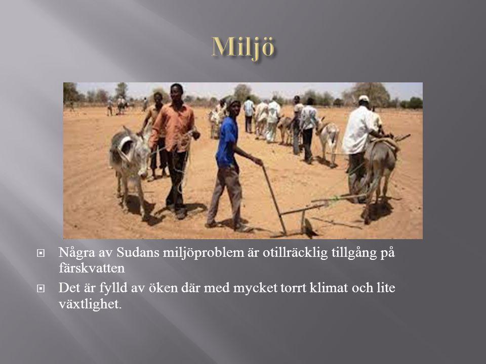 Miljö Några av Sudans miljöproblem är otillräcklig tillgång på färskvatten. Det är fylld av öken där med mycket torrt klimat och lite växtlighet.