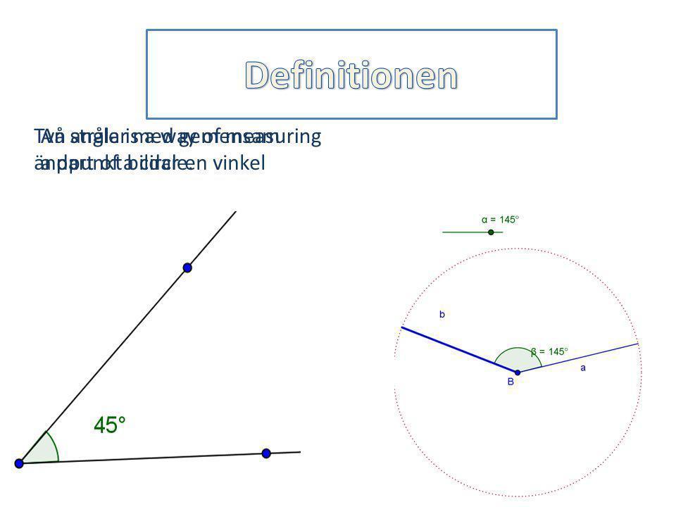 Definitionen Två strålar med gemensam ändpunkt bildar en vinkel