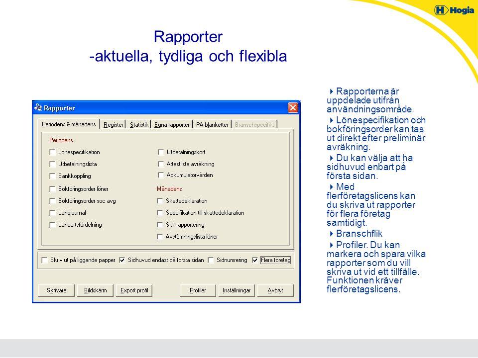Rapporter -aktuella, tydliga och flexibla