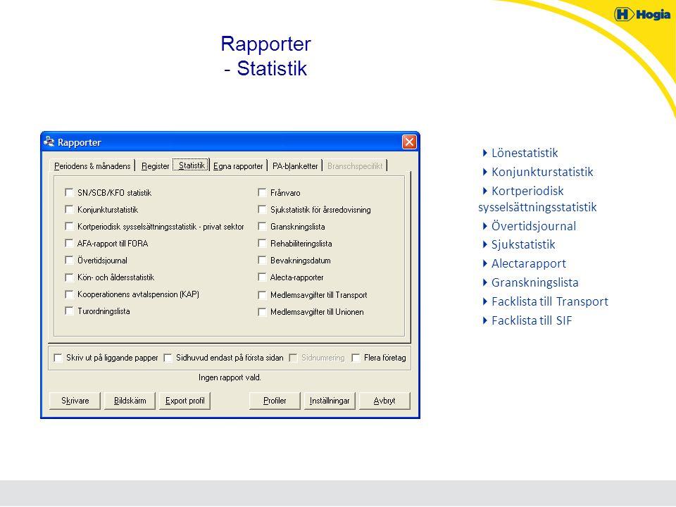 Rapporter - Statistik Lönestatistik Konjunkturstatistik