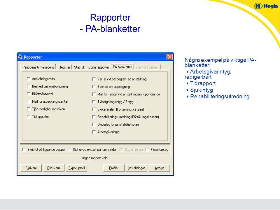 Rapporter - PA-blanketter