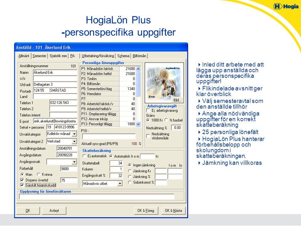 HogiaLön Plus -personspecifika uppgifter