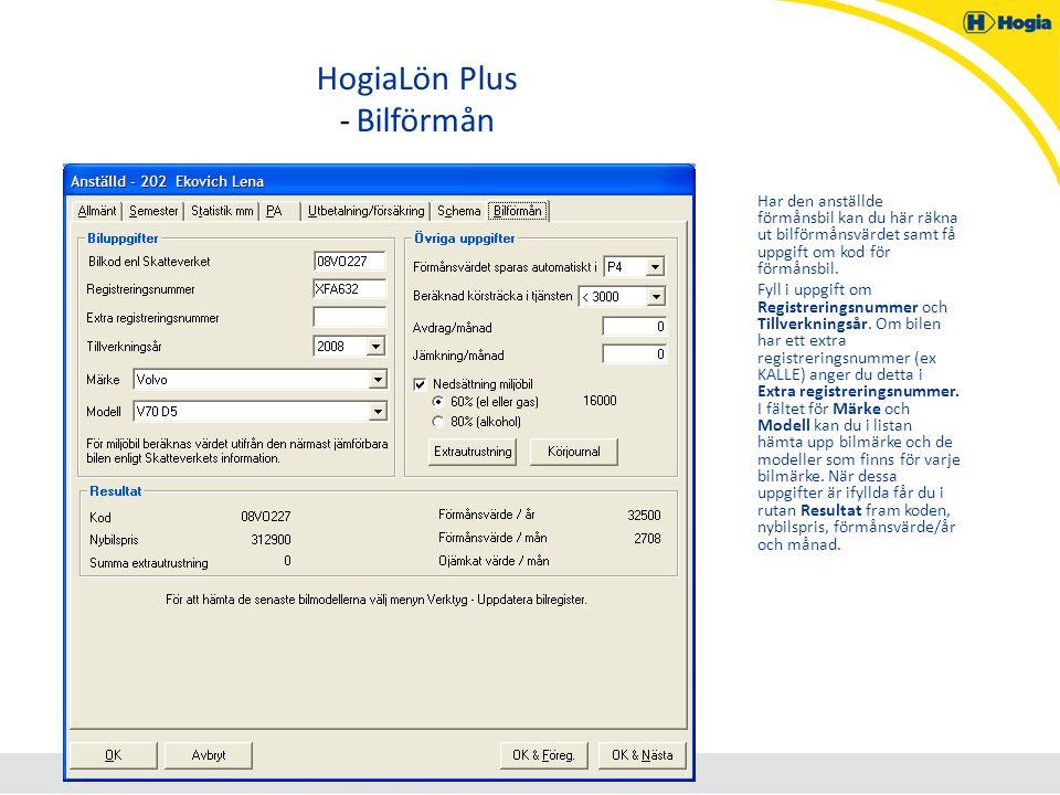 HogiaLön Plus - Bilförmån