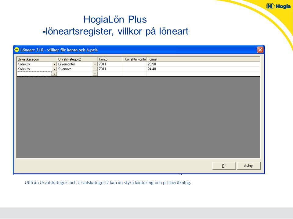 HogiaLön Plus -löneartsregister, villkor på löneart