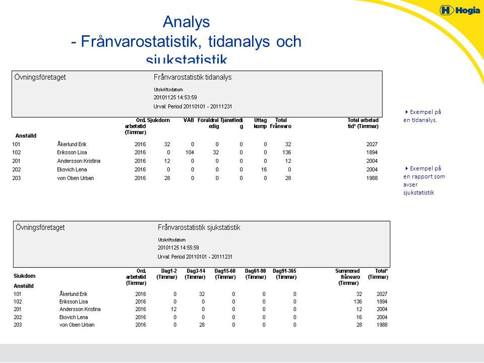 Analys - Frånvarostatistik, tidanalys och sjukstatistik