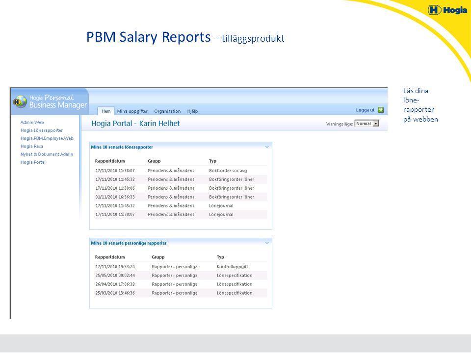 PBM Salary Reports – tilläggsprodukt