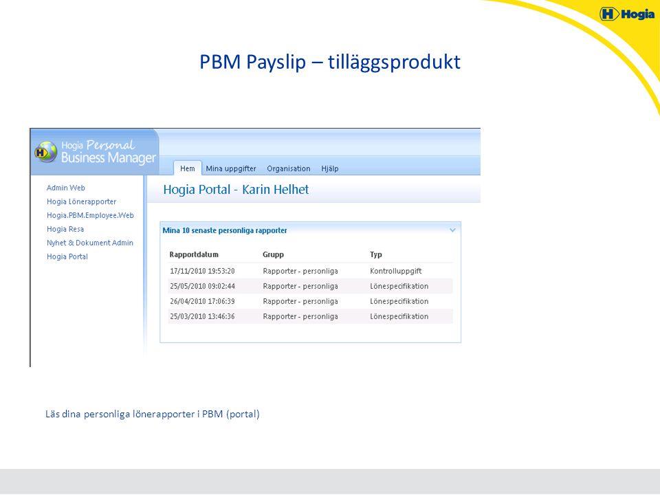 PBM Payslip – tilläggsprodukt