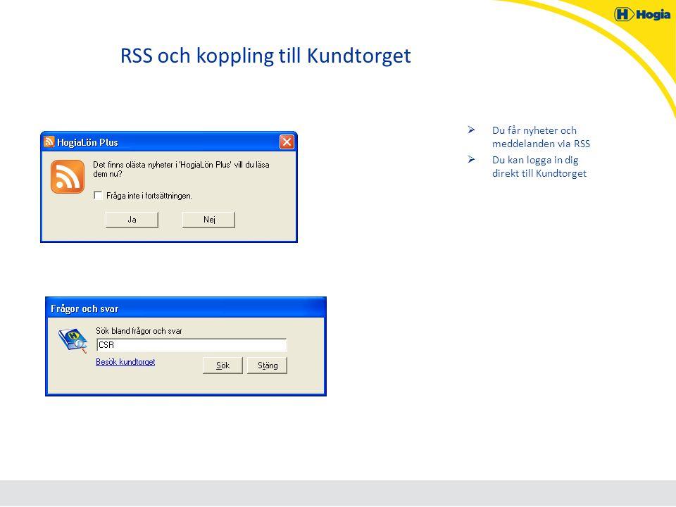 RSS och koppling till Kundtorget