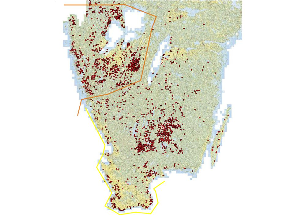 Karta över stenkammargravar i Sverige