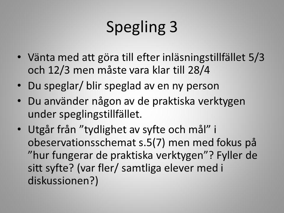 Spegling 3 Vänta med att göra till efter inläsningstillfället 5/3 och 12/3 men måste vara klar till 28/4.