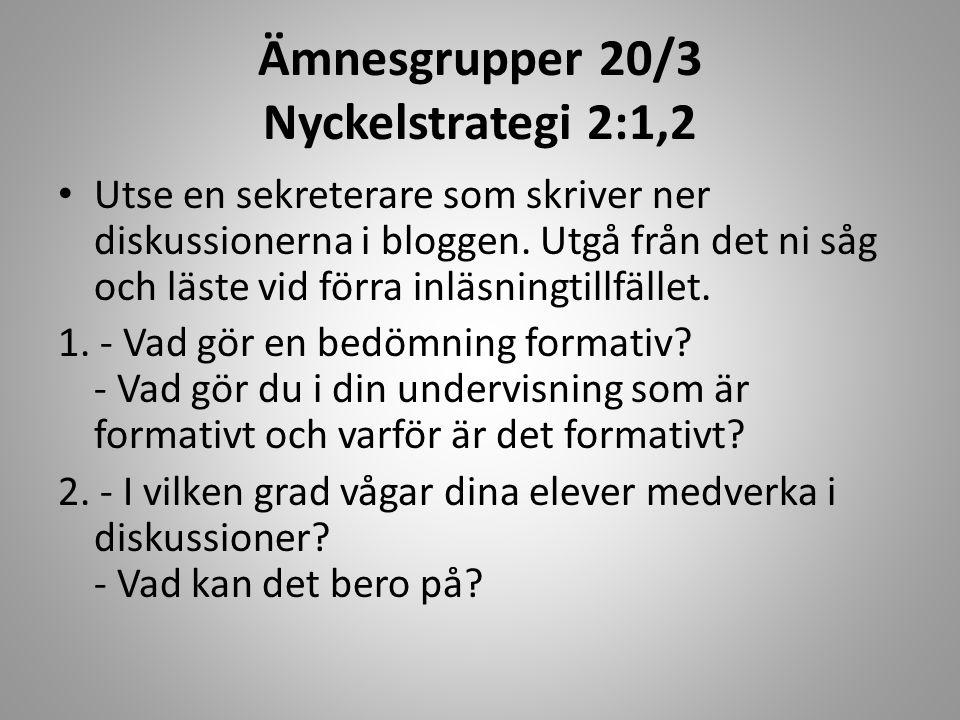 Ämnesgrupper 20/3 Nyckelstrategi 2:1,2