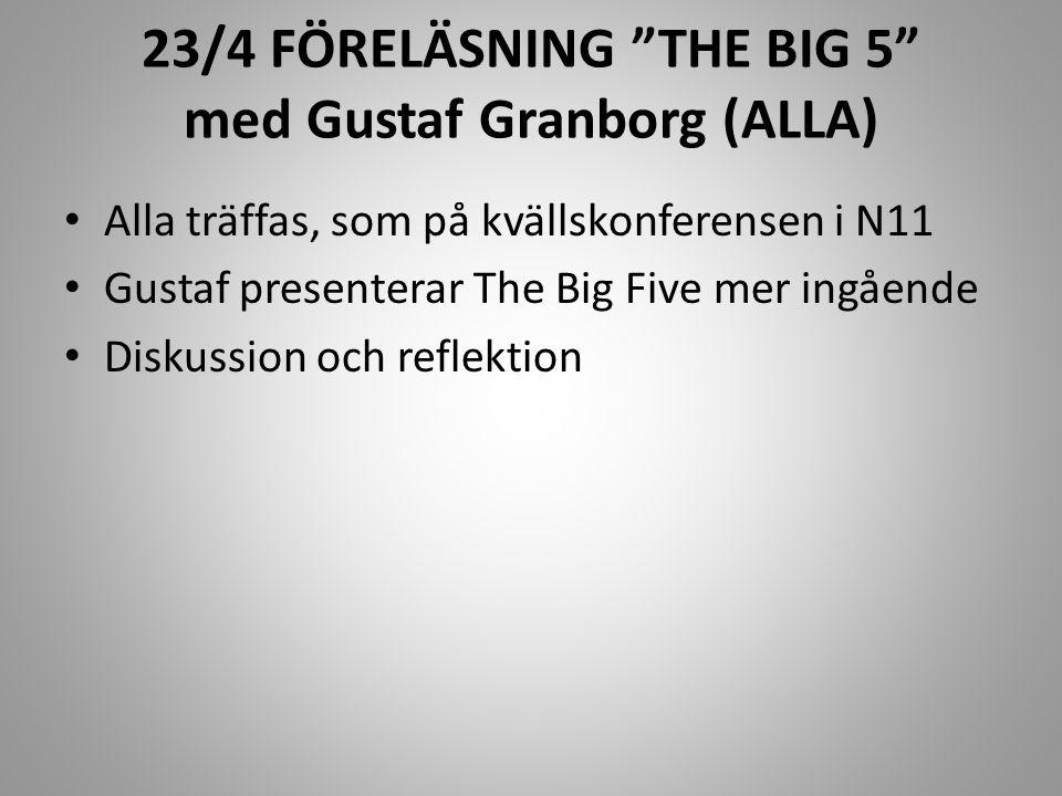 23/4 FÖRELÄSNING THE BIG 5 med Gustaf Granborg (ALLA)