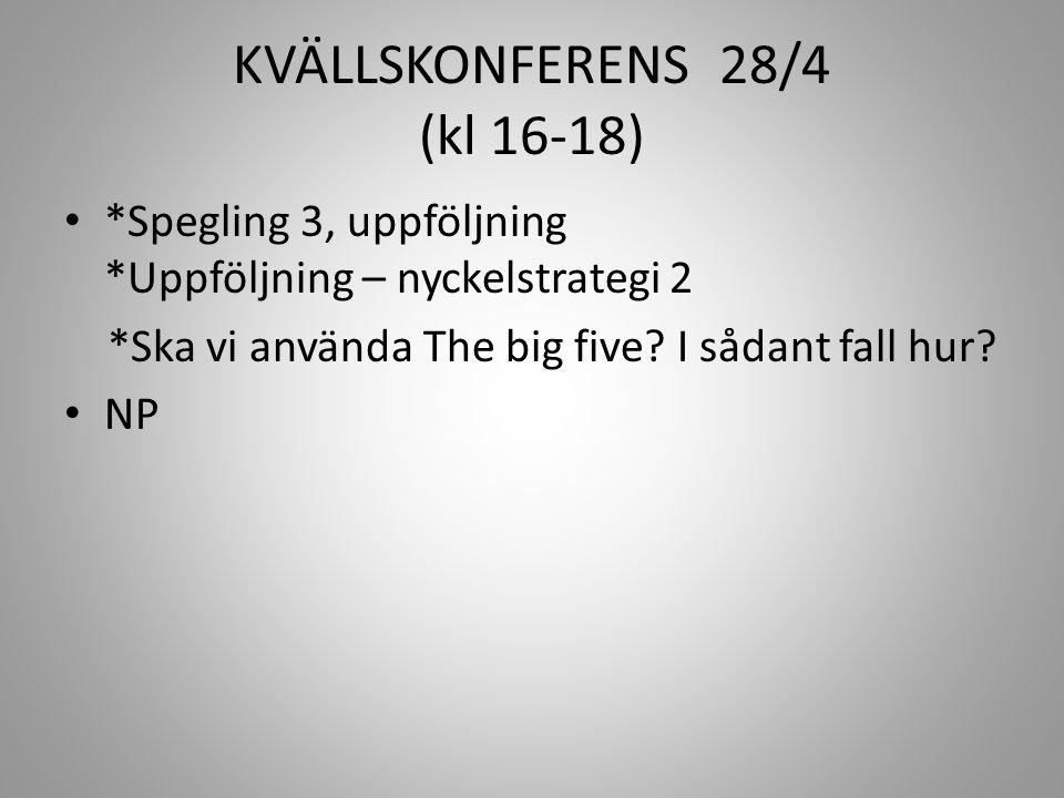 KVÄLLSKONFERENS 28/4 (kl 16-18)